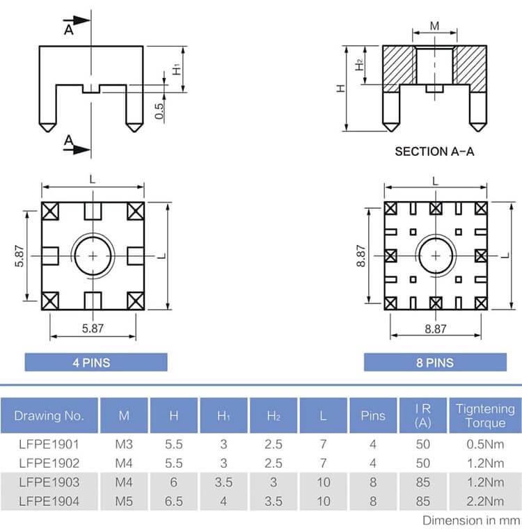 通孔内螺纹回流焊接接线端子工程数据